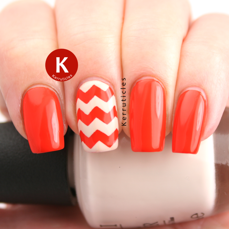 Orange and cream zigzags nail art by Claire Kerr