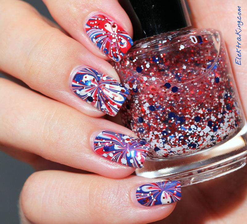 4th of July Manicure nail art by Elektra King