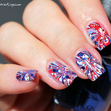 4th of July Manicure nail art by Elektra King