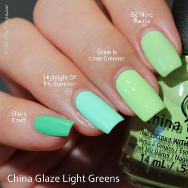 China Glaze Highlight of my summer, China Glaze Shore enuff, China Glaze Be more pacific, and China Glaze Grass is lime greener Swatch by Elektra King