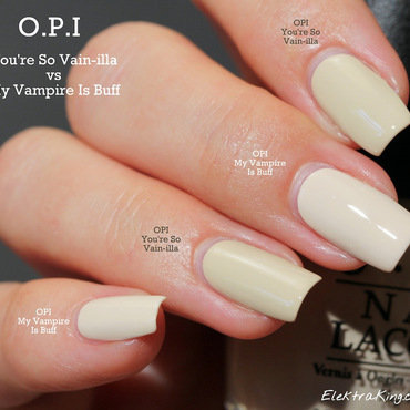 OPI You're So Vain-illa and OPI My Vampire is Buff Swatch by Elektra King