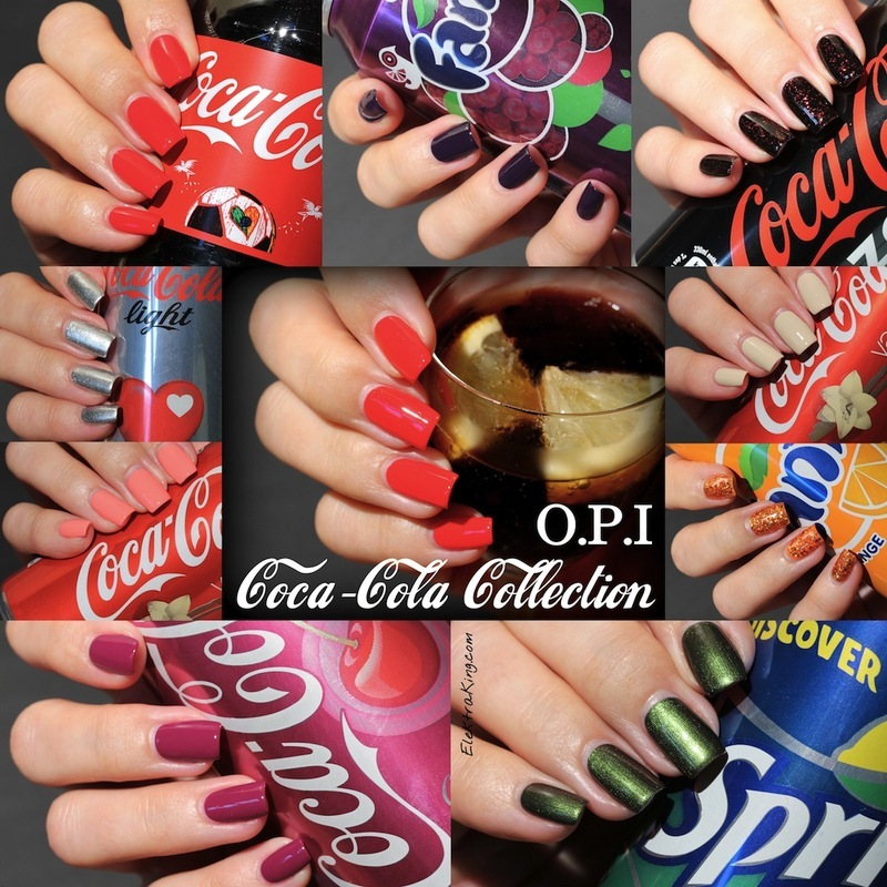 """OPI Green On The Runway, OPI Get Cherried Away, OPI A Grape Affair, OPI Today I Accomplished Zero, OPI My Signature Is """"DC"""", OPI Orange You Fantastic!, OPI Turn On the Haute Light, OPI You're So Vain-illa, OPI Sorry I'm Fizzy Today, and OPI Coca-cola Red Swatch by Elektra King"""
