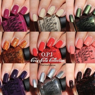"OPI Green On The Runway, OPI Get Cherried Away, OPI A Grape Affair, OPI Today I Accomplished Zero, OPI My Signature Is ""DC"", OPI Orange You Fantastic!, OPI Turn On the Haute Light, OPI You're So Vain-illa, OPI Sorry I'm Fizzy Today, and OPI Coca-cola Red Swatch by Elektra King"