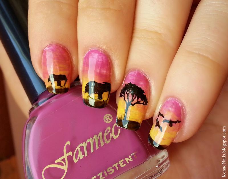 Sunset nails nail art by KonadAddict