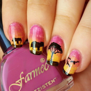 Sunset nails nail art by KonadAddict