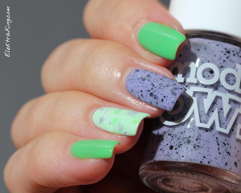 Greens & Lilacs nail art by Elektra King