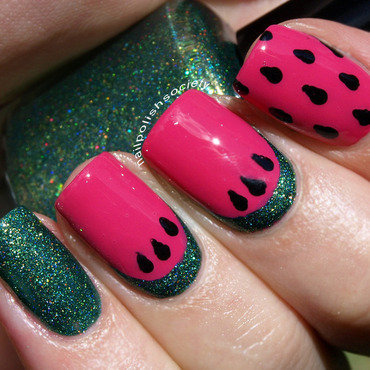 Mouthwatering Watermelon nail art by Emiline Harris
