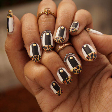 Matte Leopard French Tips. nail art by Stacey  Castanha
