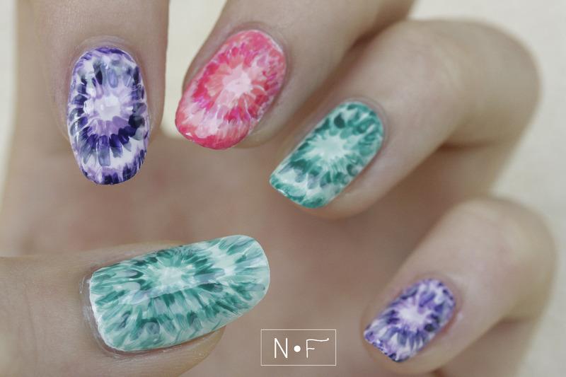 Tie Dye Nails nail art by NerdyFleurty