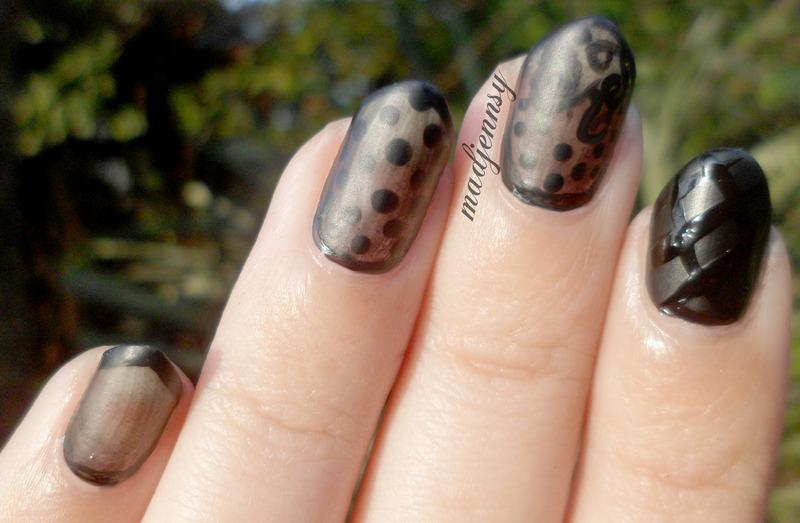 Sheer Black Nails! nail art by madjennsy Nail Art