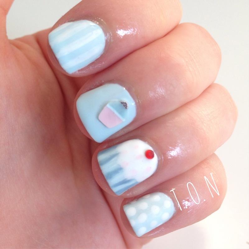 Cupcake Blues nail art by Tipped Off Nails