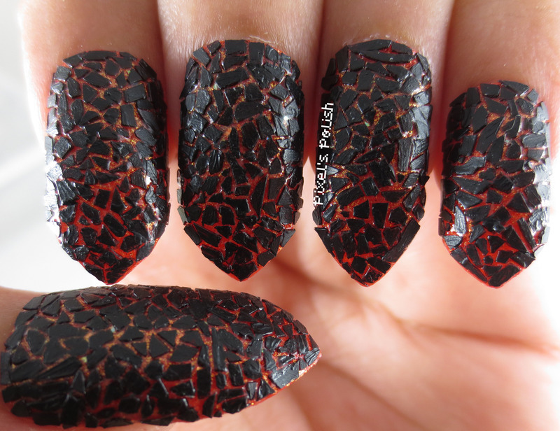 Hot Lava nail art by Pixel's Polish