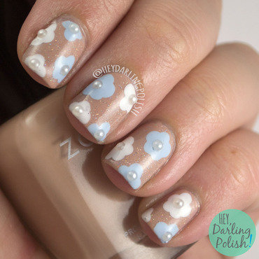 Nude sparkle flowers bridal nail art 4 thumb370f