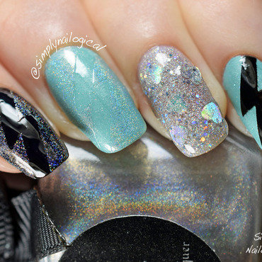 Holo and turquoise lightning bolts  nail art by simplynailogical