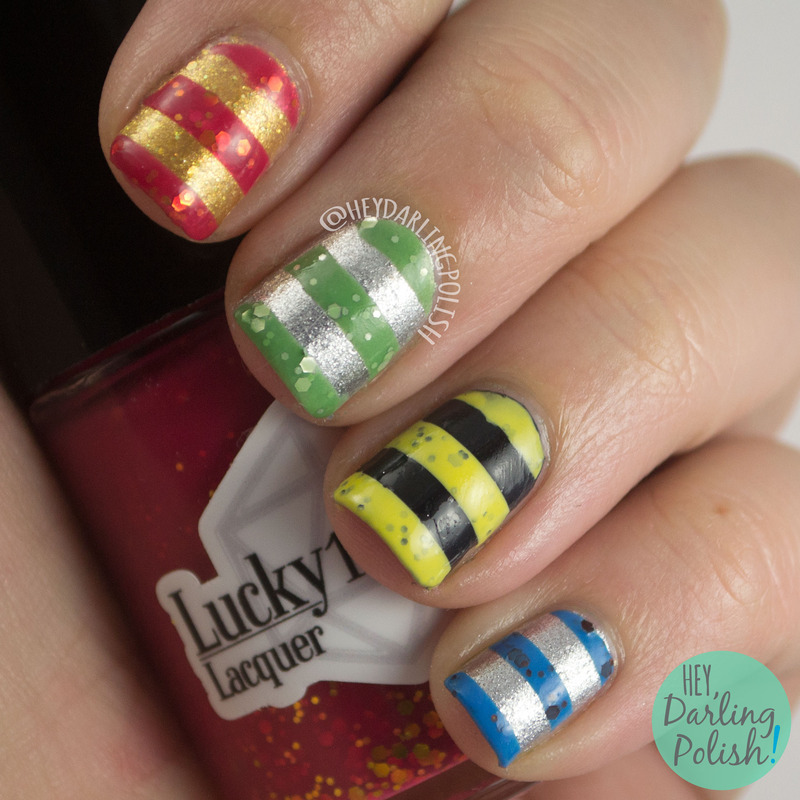 Fandom Stripes nail art by Marisa  Cavanaugh