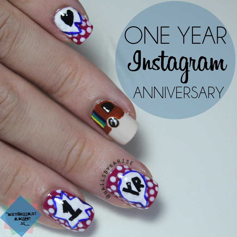 One Year Anniversary on Instagram nail art by Karise Tan