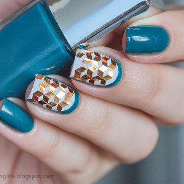 Teal and copper glitter placement nail art by Alena Belozerova