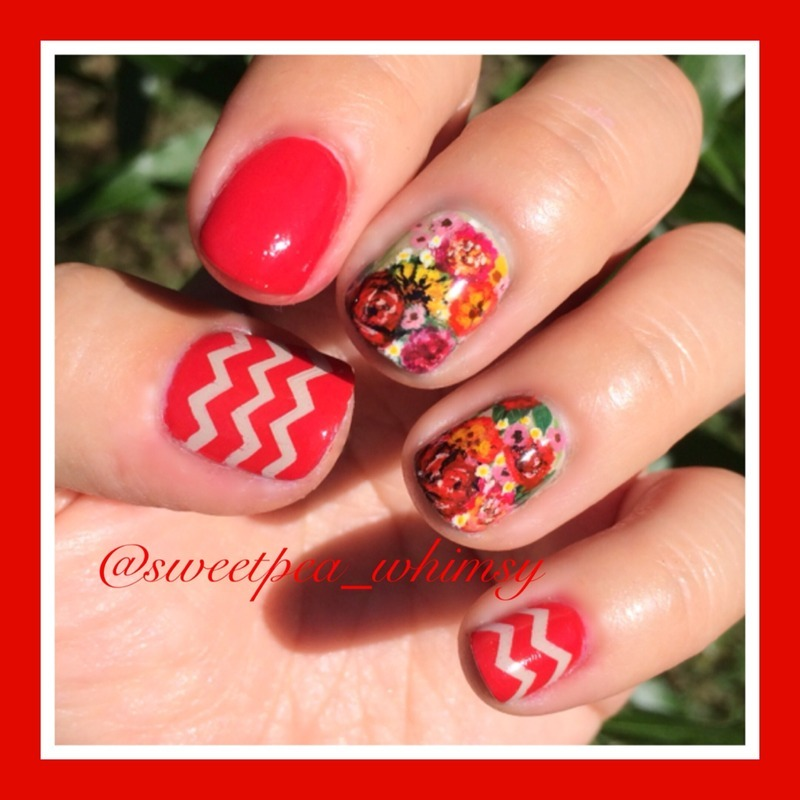 Candy Apple Red & Floral nail art by SweetPea_Whimsy