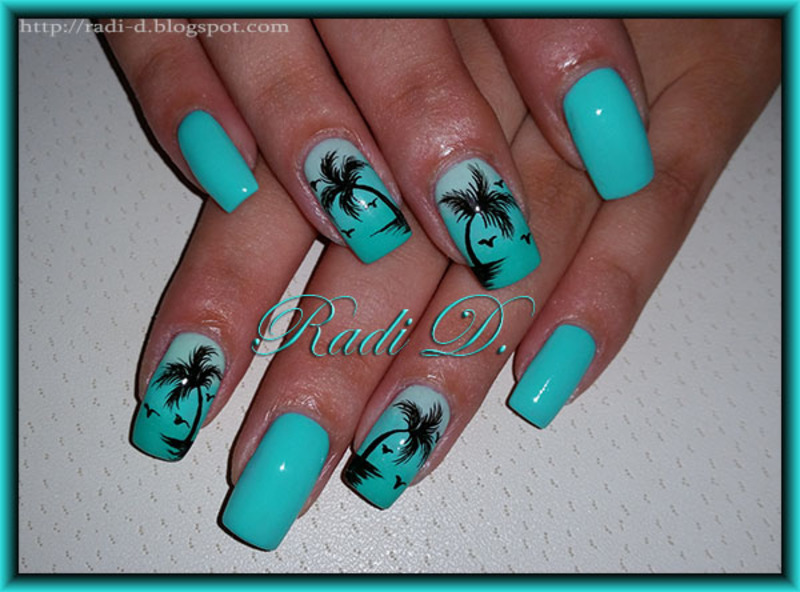 Mint with Palm trees nail art by Radi Dimitrova