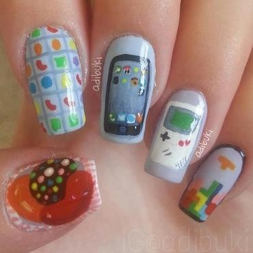 Gameboy + Tetris VS iPhone + Candy Crush nail art by Adi Buki