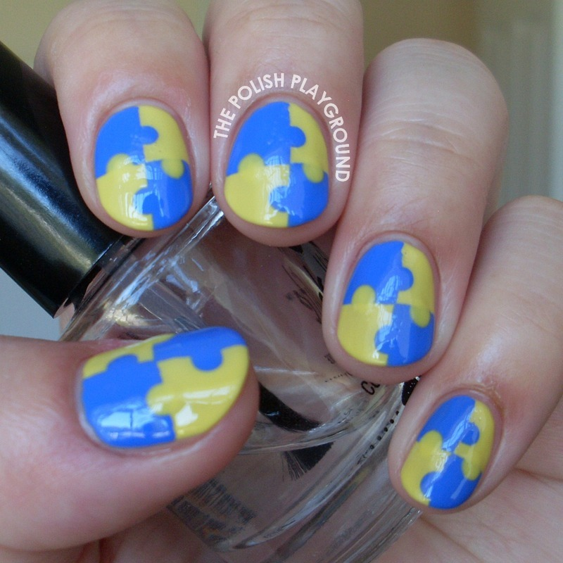 Yellow and Blue Interlocking Puzzle Nails nail art by Lisa N