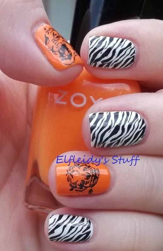 Tiger nails nail art by Jenette Maitland-Tomblin