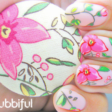 Wild flowers nail art inspired by a button 5 thumb370f
