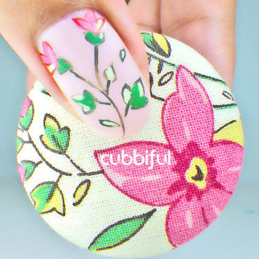 Wild flowers nail art inspired by a button 2 thumb370f
