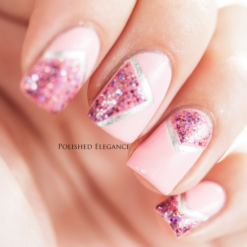 Pink summer chevrons nail art by Lisa