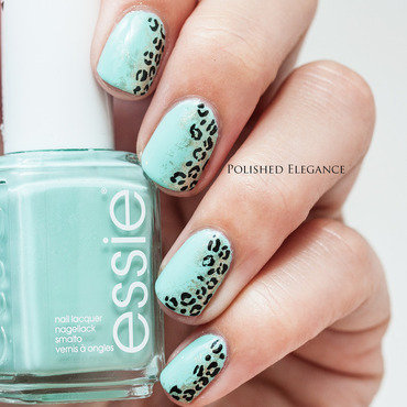 Minty Leopard nail art by Lisa
