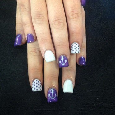 Nautical Grape nail art by Beth Marie