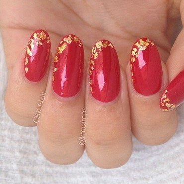 Gold Flaked Tips nail art by Kasey Campa