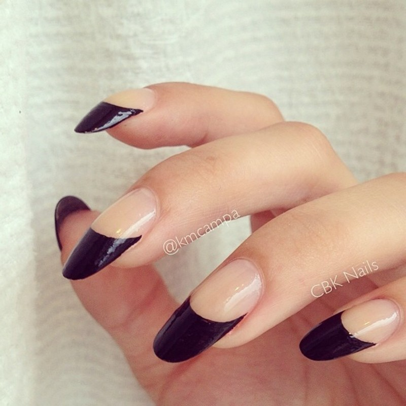 Classy Black Tips nail art by Kasey Campa