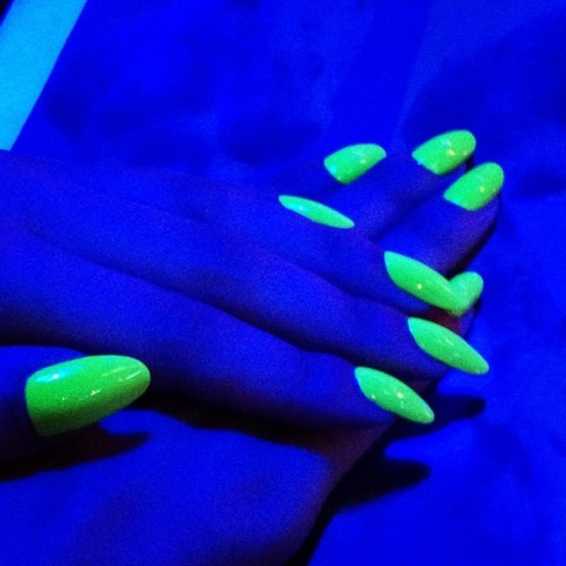 Blacklight Fun nail art by Kasey Campa