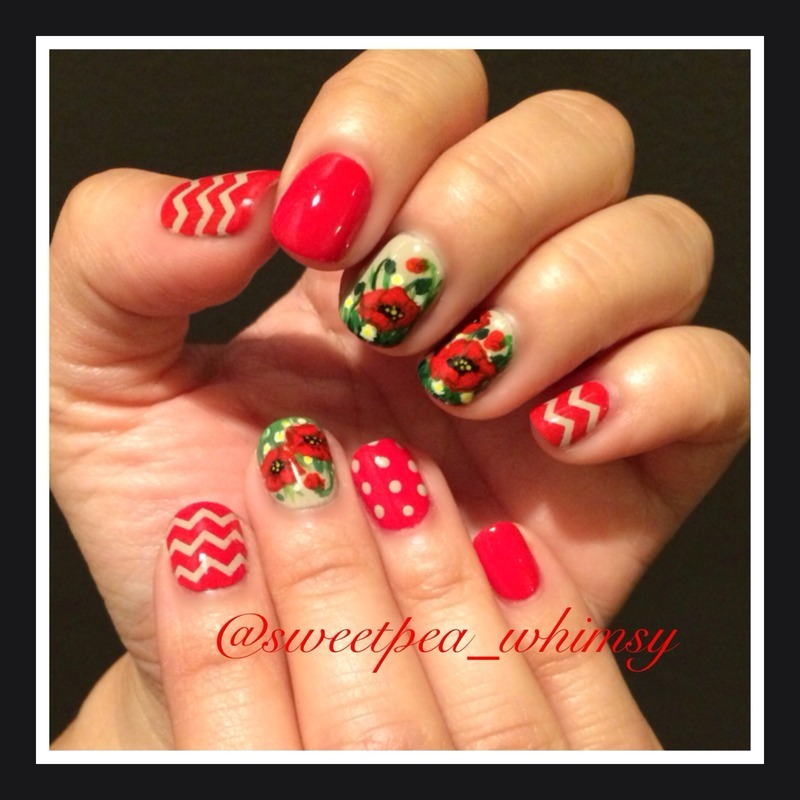 Poppy Red & Polka Dots (and chevron, too!) nail art by SweetPea_Whimsy
