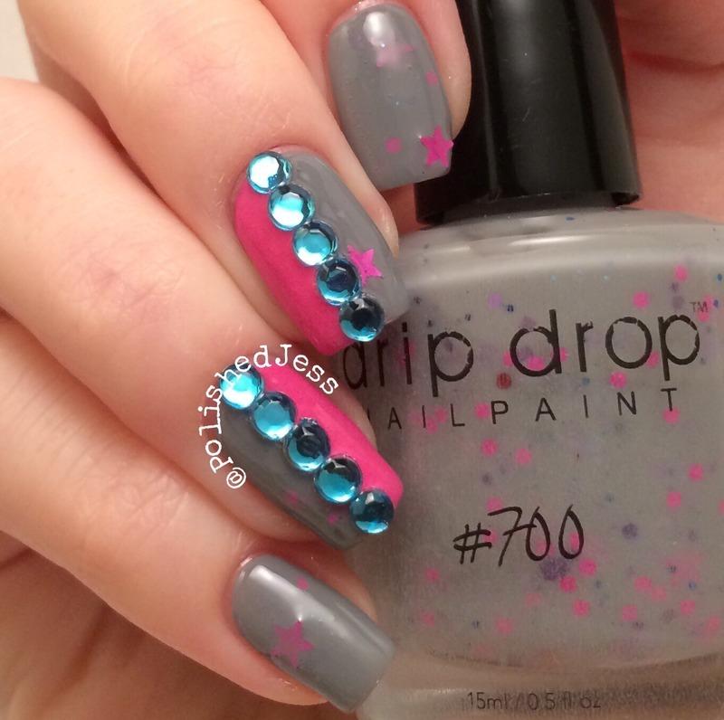 Rhinestones  nail art by PolishedJess