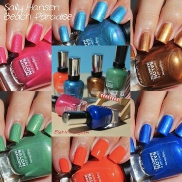 Sally Hansen Copper, Sally Hansen Blue Crush, Sally Hansen Beach Redy, Sally Hansen Summerlime, Sally Hansen Searsucker, and Sally Hansen Leis-y Days Swatch by Elektra King