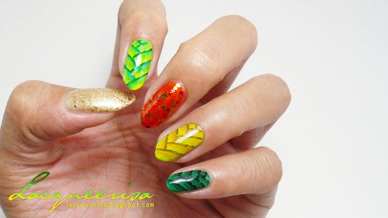 Ketupat Nails nail art by Lacqueerisa
