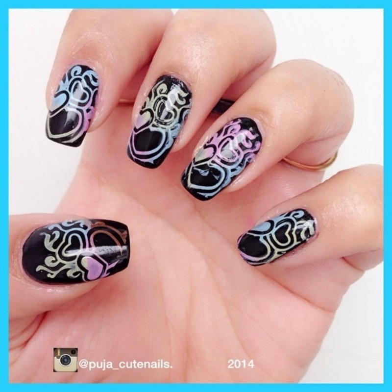 Pastel hearts nail art nail art by Puja Malhotra