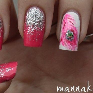 pink peacock nail art by Marianna Kovács