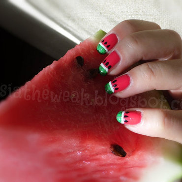 Watermelon nails nail art by Kasia