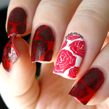 Roses are red nail art by Ewlyn