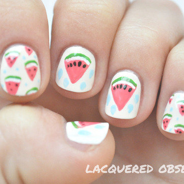 Watermelon nail art by Lacquered Obsession