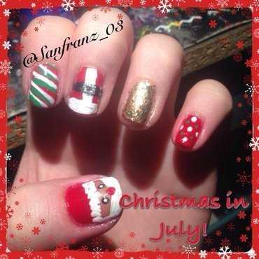 Christmas in July nails! nail art by Sandy