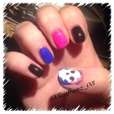 Colorful skull nail art! nail art by Sandy