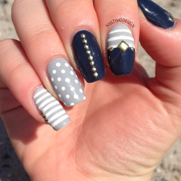 Nautical Nails nail art by NailThatDesign