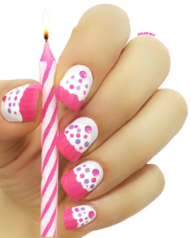Cupcake Nails ♥ Birthday Nails nail art by Goldi