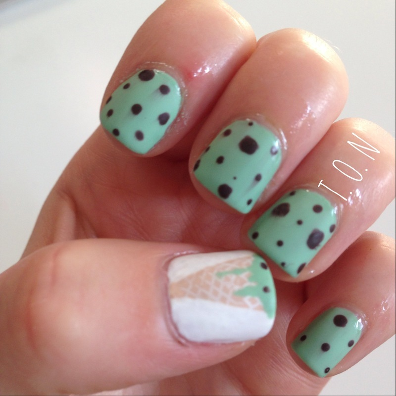 Mint Choc Chip nail art by Tipped Off Nails