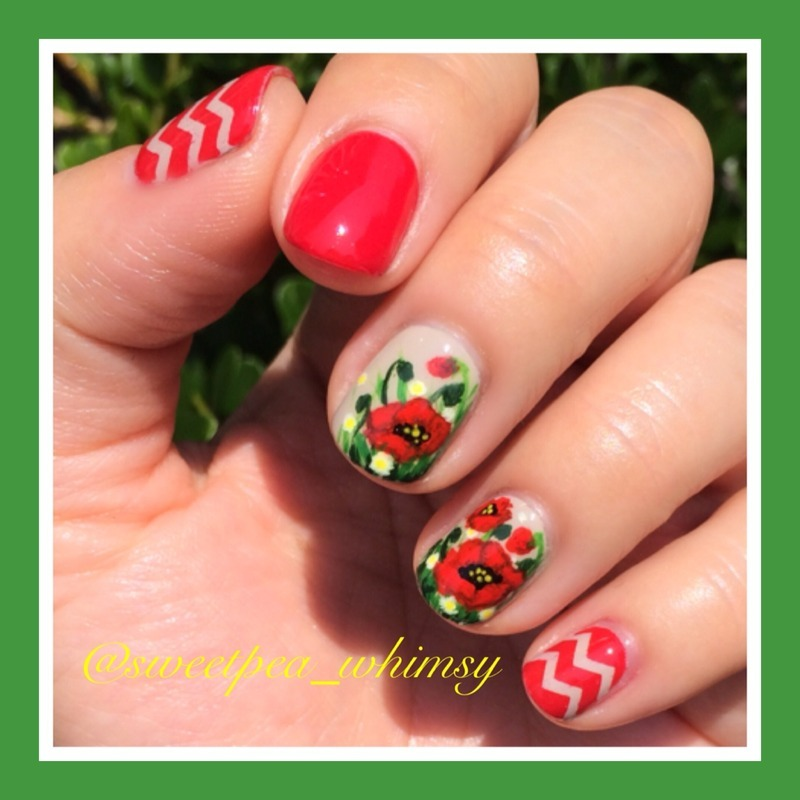 Poppy Red (Outdoor Photo) nail art by SweetPea_Whimsy