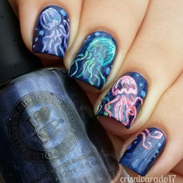Jellyfish!  nail art by Cristina Alvarado